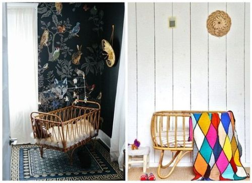 Ideas para decorar habitaciones infantiles originales con cunas de ratán para bebés.
