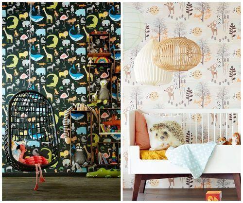 Dos ideas para dormitorios de niños: el papel pintado es de las mejores ideas para decorar habitaciones infantiles originales.