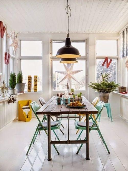 Mesas de comedor en ambientes de estilo nórdico.