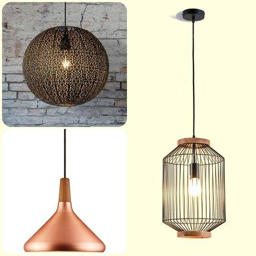 3 tipos de lámparas colgantes de estilo vintage.