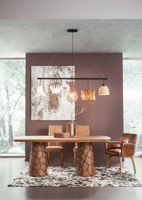 Lámparas vintage para el comedor con pantallas desiguales: trend