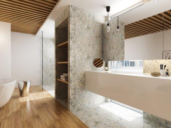 Revestimiento de paredes de granito para cuartos de baño.