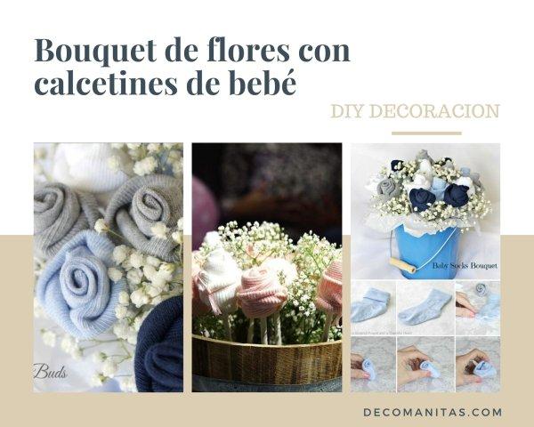 Manualidades con calcetines de bebé: bouquets de flores.