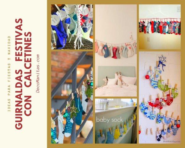 Manualidades con calcetines: guirnaldas para fiestas, Navidad, cumpleaños, etc.