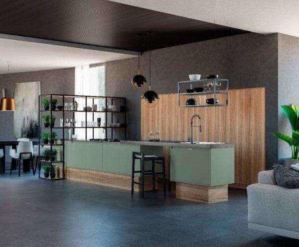 Contrastes y madera con veta entre las nuevas tendencias en cocinas 2021.