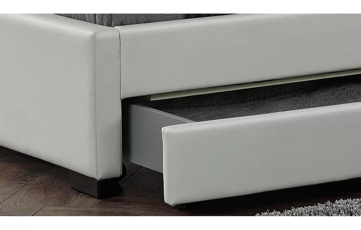 Lit Design En Simili Cuir Blanc 160 Cm Avec Bande Led Et 4