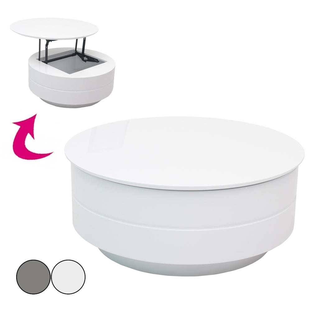 table basse grise ou blanche avec