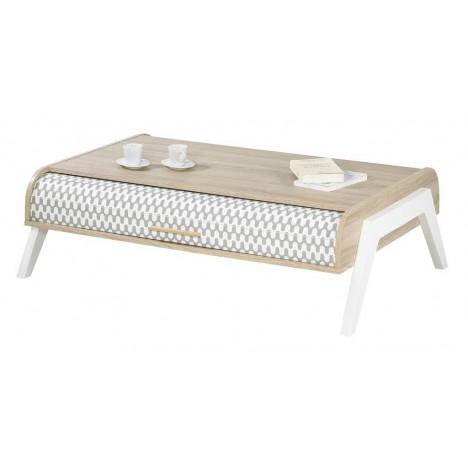 table basse bois clair avec 4 rangements et 2 rideaux deco vintagy