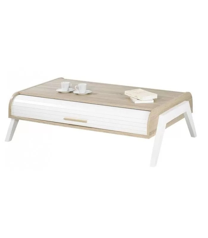 table basse chene clair avec 2 rideaux de rangement blanc vintagy