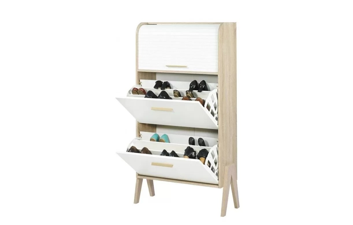 meuble a chaussures bois et blanc style