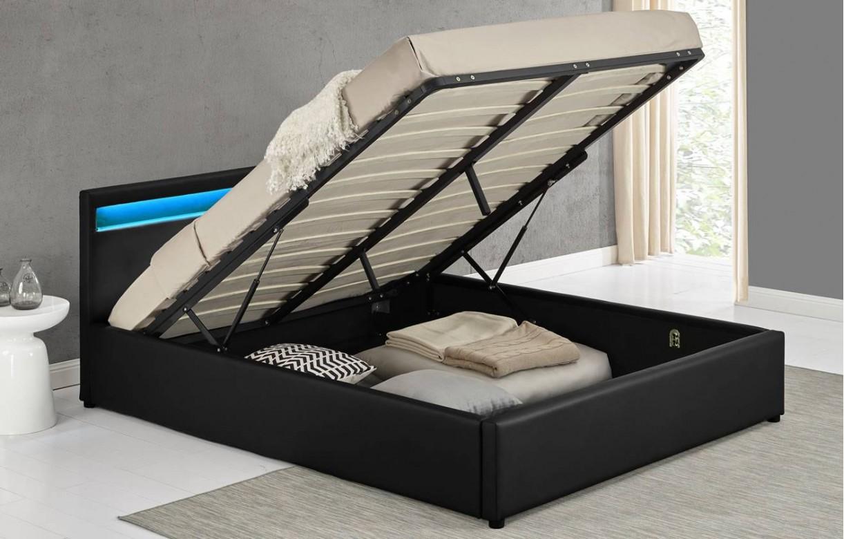 Lit Coffre Design Italien En Simili Cuir Noir Oty 140 Ou 160