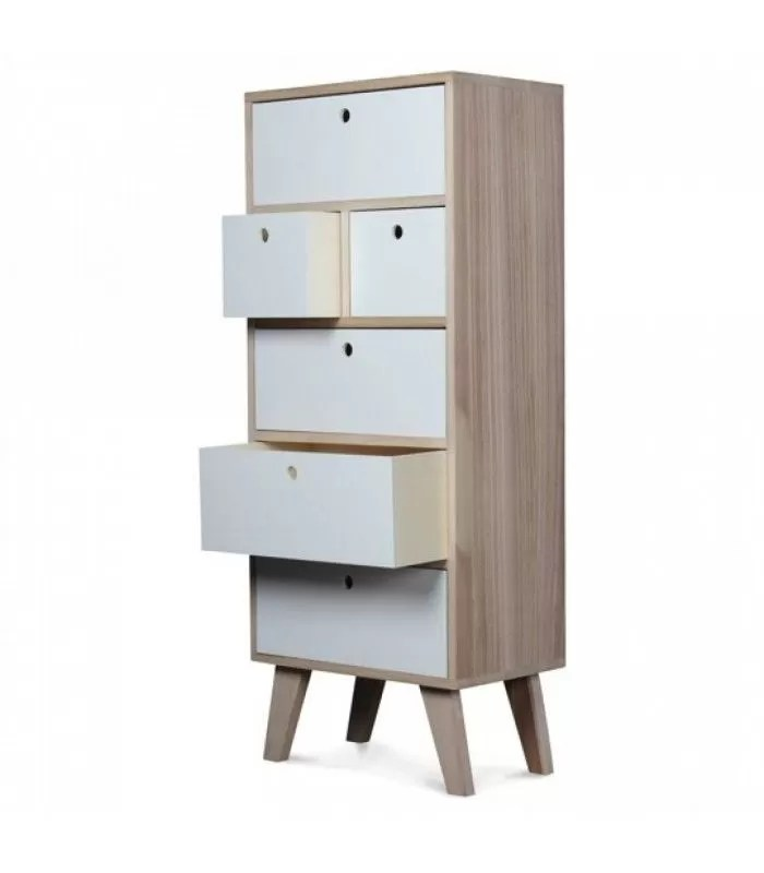 meuble scandinave blanc colonne de rangement en bois 6 tiroirs boreal