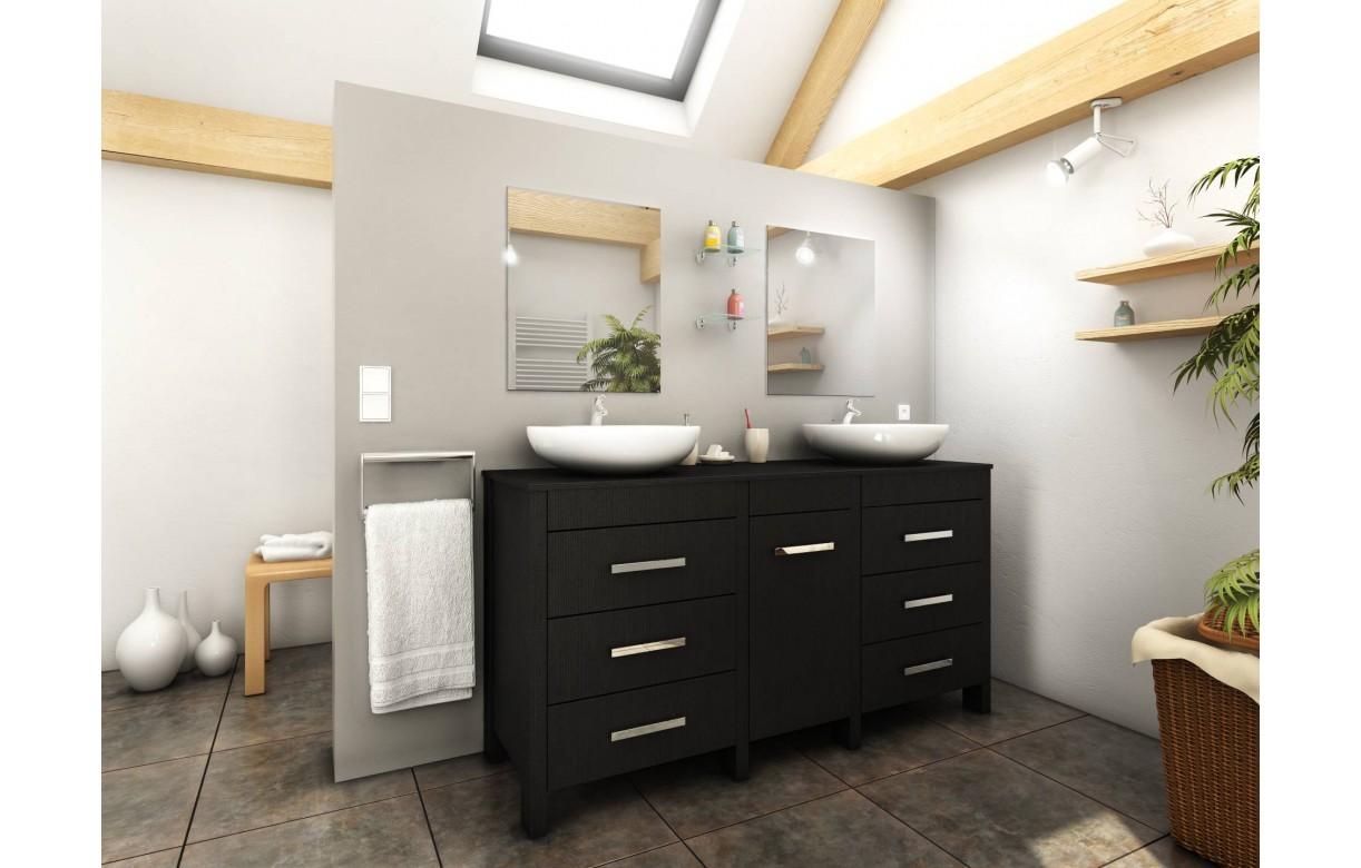 Meuble salle de bain bois noir  2 vasques  2 miroirs Roma