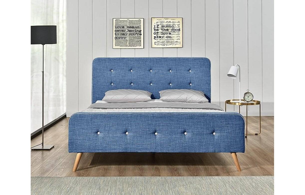 Lit tissu lin bleu style scandinave avec tte de lit Natt