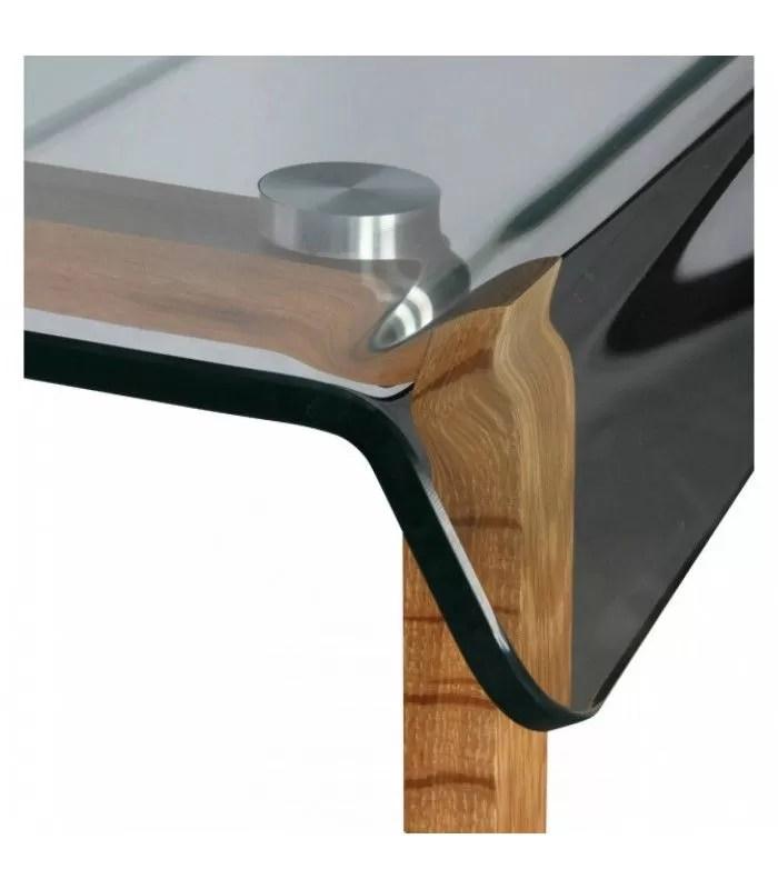 bureau en verre et pieds bois ou metal noir