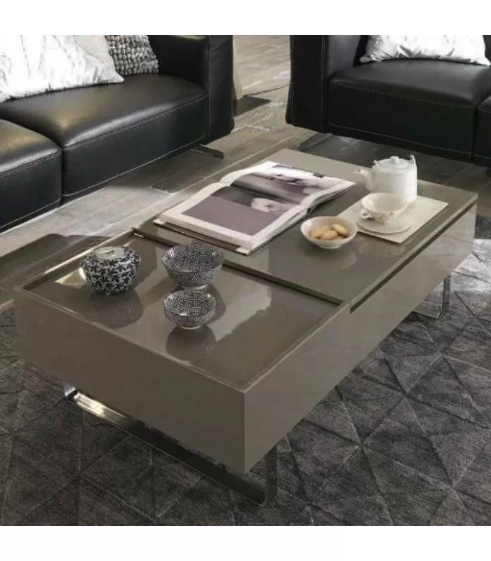 table basse laque bois noyer avec tiroir et plateau relevable fayla