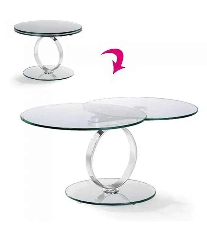 table basse ronde extensible en verre trempe 12mm brina