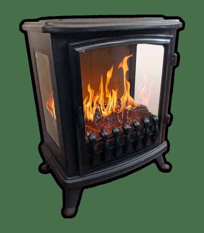 foyer cheminee electrique noire flamme 3d fire glass