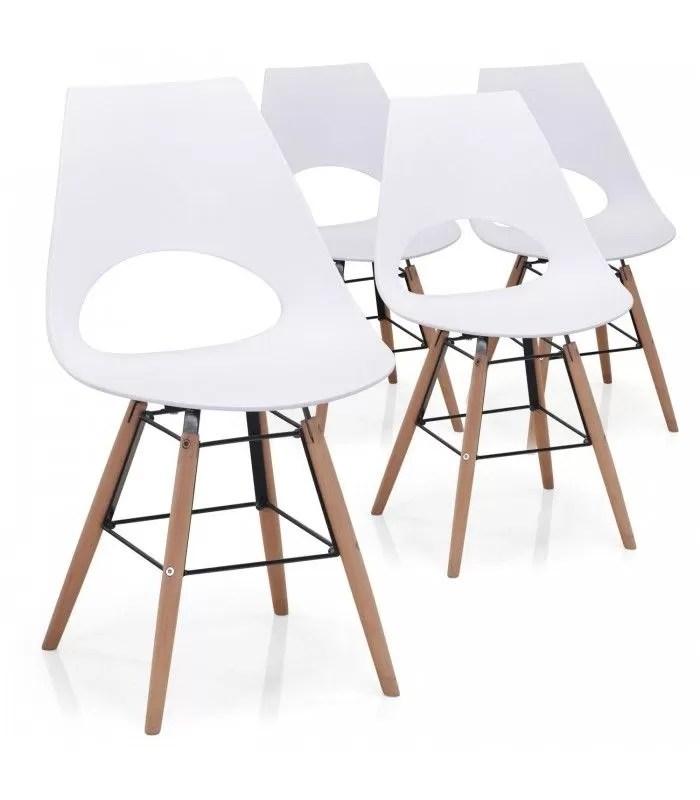 ensemble de 4 chaises blanches bois et metal style scandinave