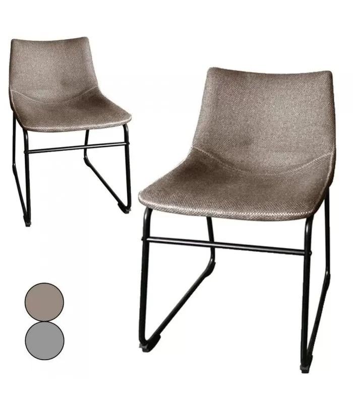 chaise metal noir et tissu effet lin taupe ou gris lot de 2