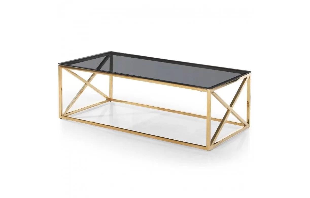 table basse en metal dore et plateau en verre fume star