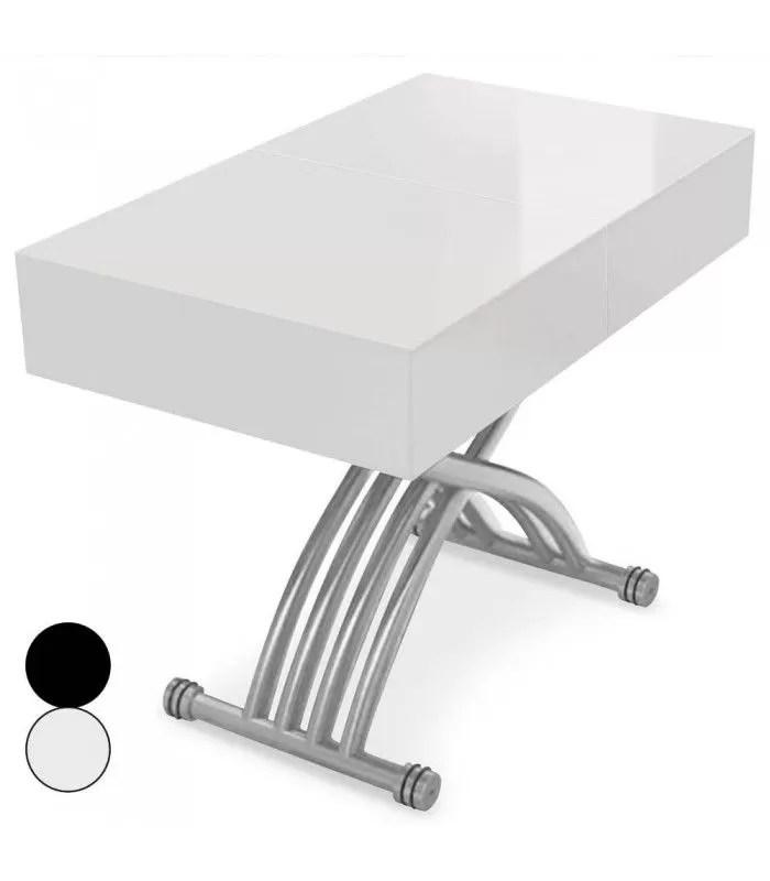 table basse relevable et extensible blanche ou noire lila