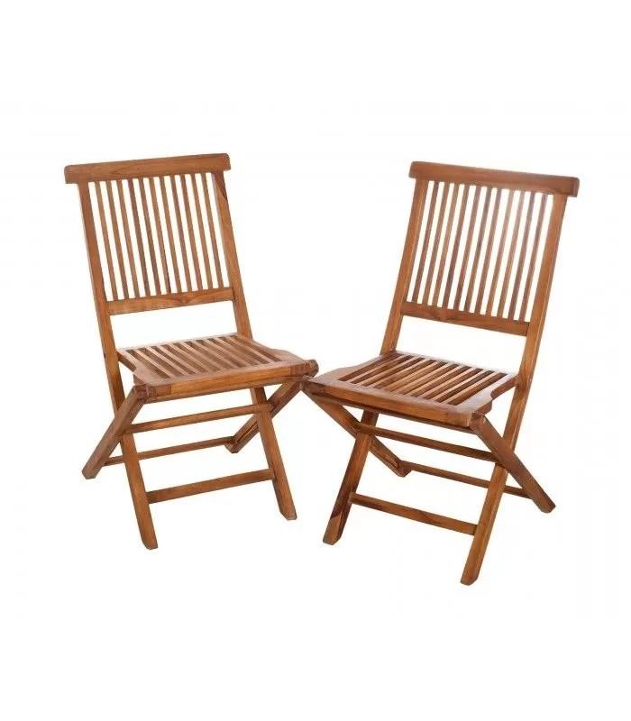 lot de 2 chaises de jardin en teck pliantes besuki