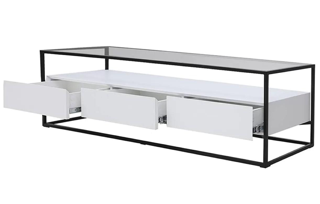 meuble tv en verre et metal 3 tiroirs