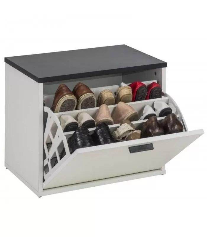 banc coffre rangement de chaussures noir et blanc lucky