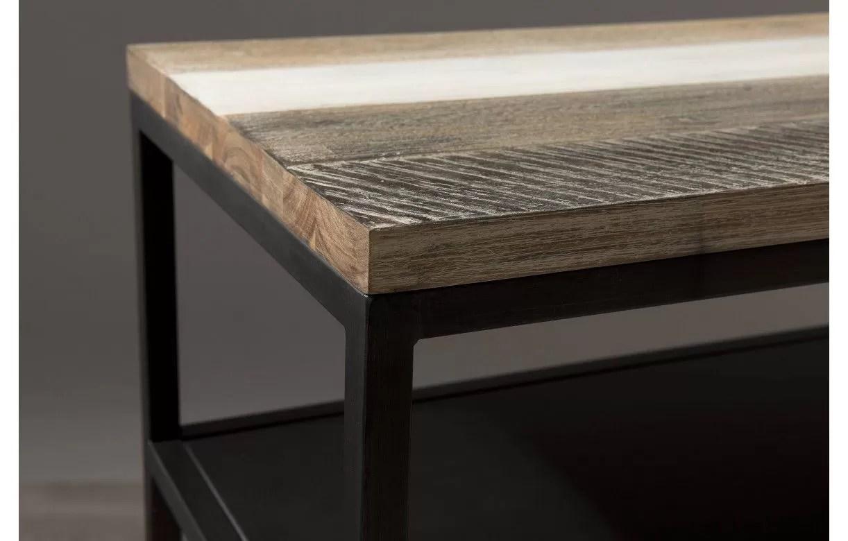 console en bois massif avec tablette