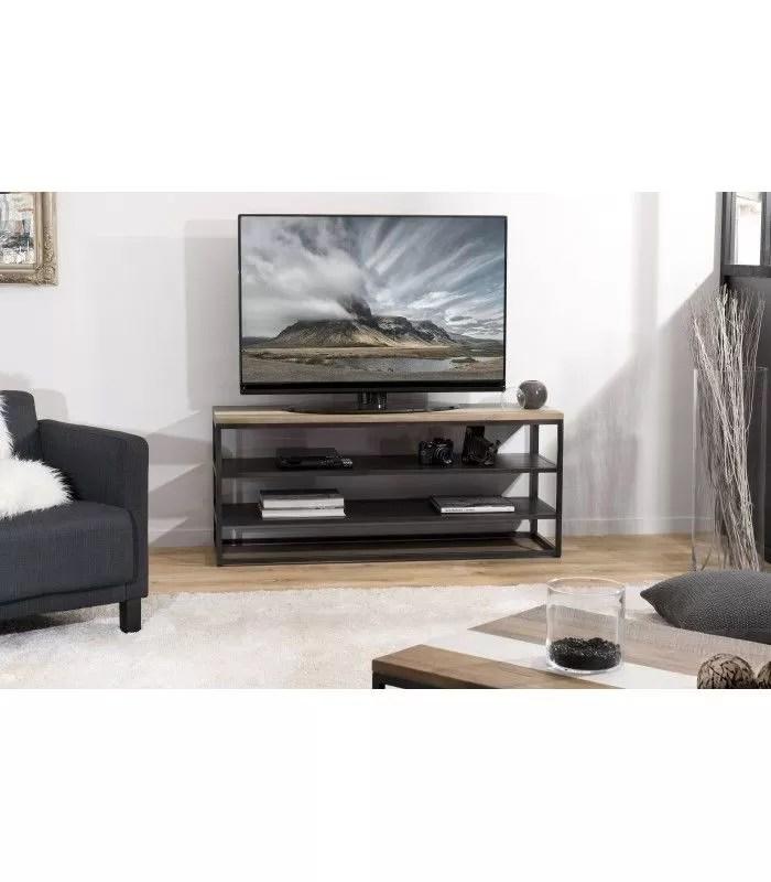 meuble tv metal noir et plateau en bois massif mare