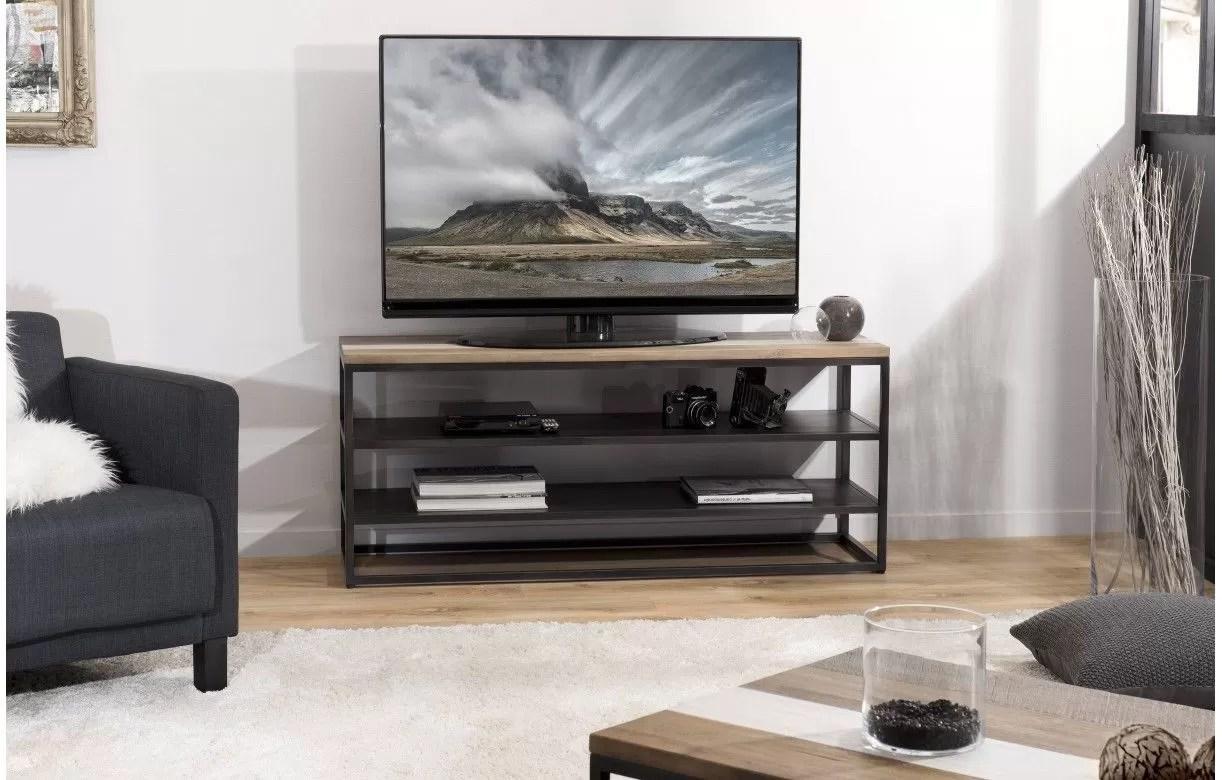 meuble tv metal noir et bois clair 2