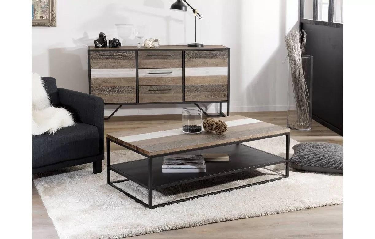 table basse bois massif et metal noir