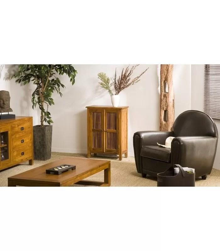 petit meuble en bois teck massif 2 portes persiennes joca