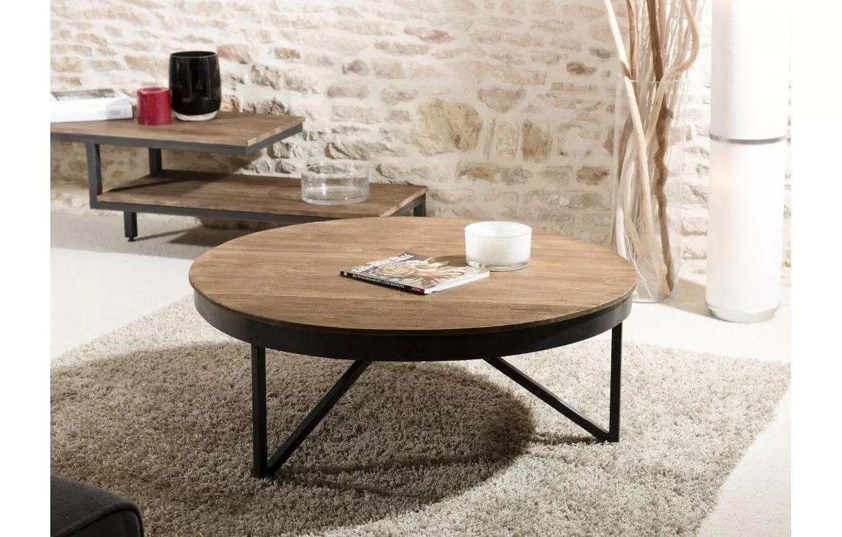 table basse ronde bois massif metal