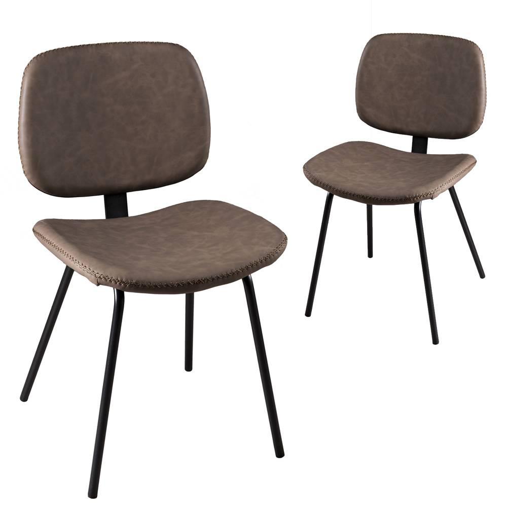 chaise en cuir taupe et metal noir jena
