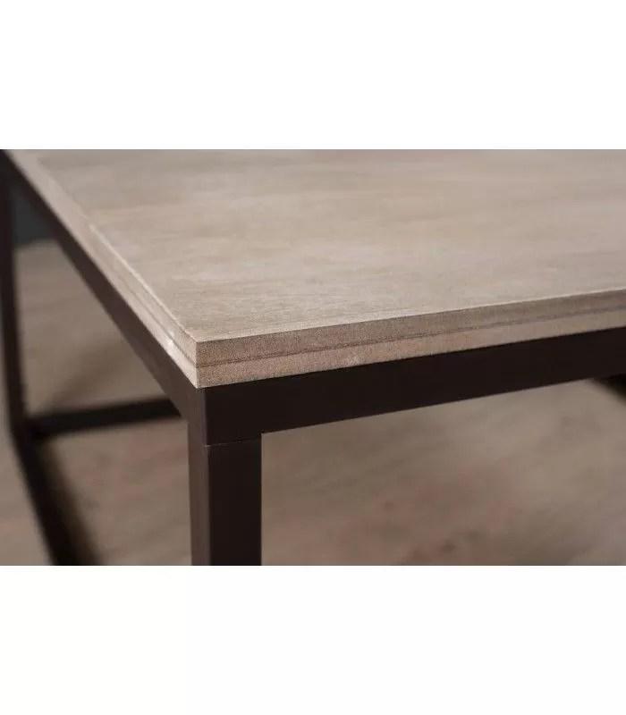 table basse bois clair pieds metal 90 cm toba