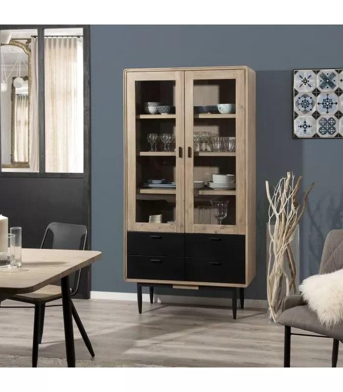 vaisselier avec portes vitrees bois massif et metal noir pruna