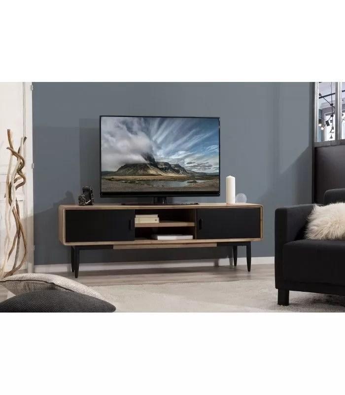 meuble tv bois massif et metal noir l165cm pruna