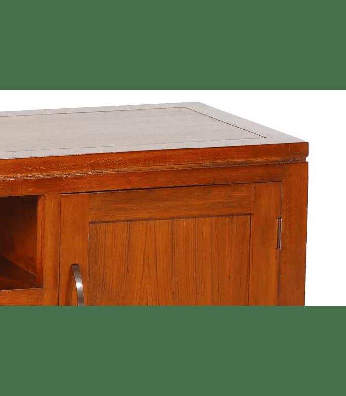 meuble tv 3 tiroirs exotique bois massif vernis laque lora