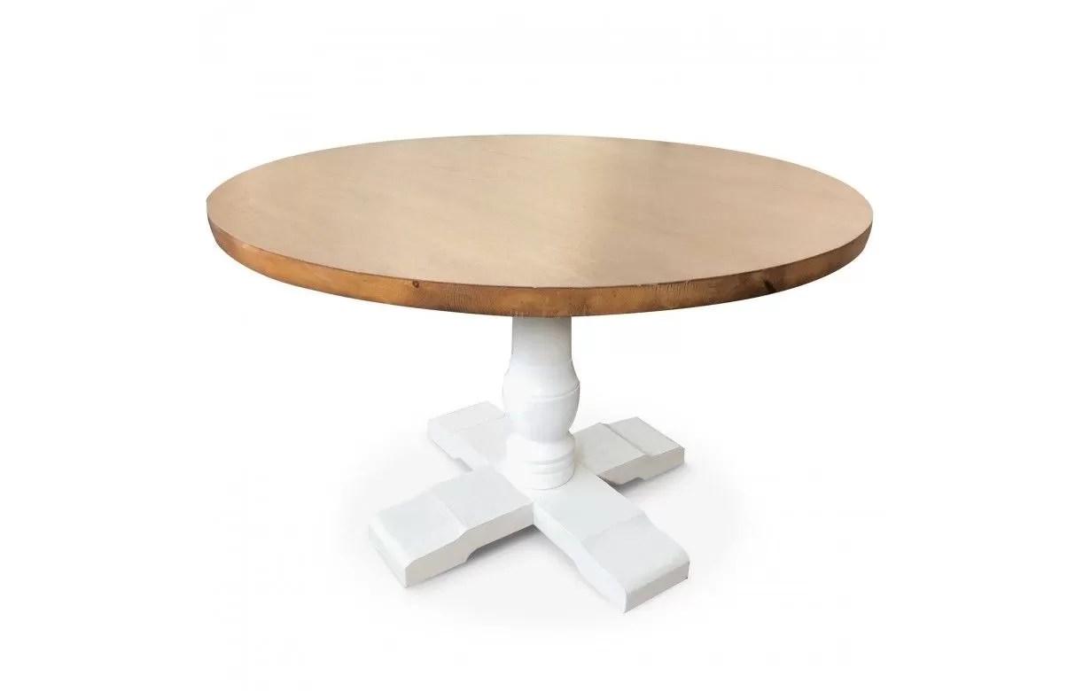 table ronde en bois clair et blanc diam 120 cm alabama