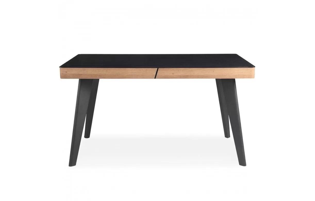 table plateau noir et bois clair l140