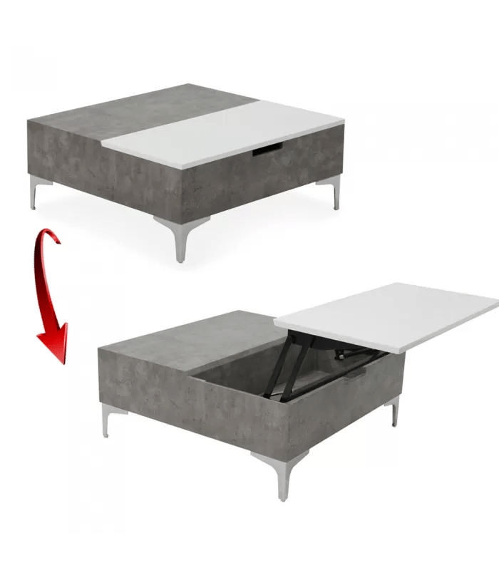 table basse relevable marbre gris et blanc skara