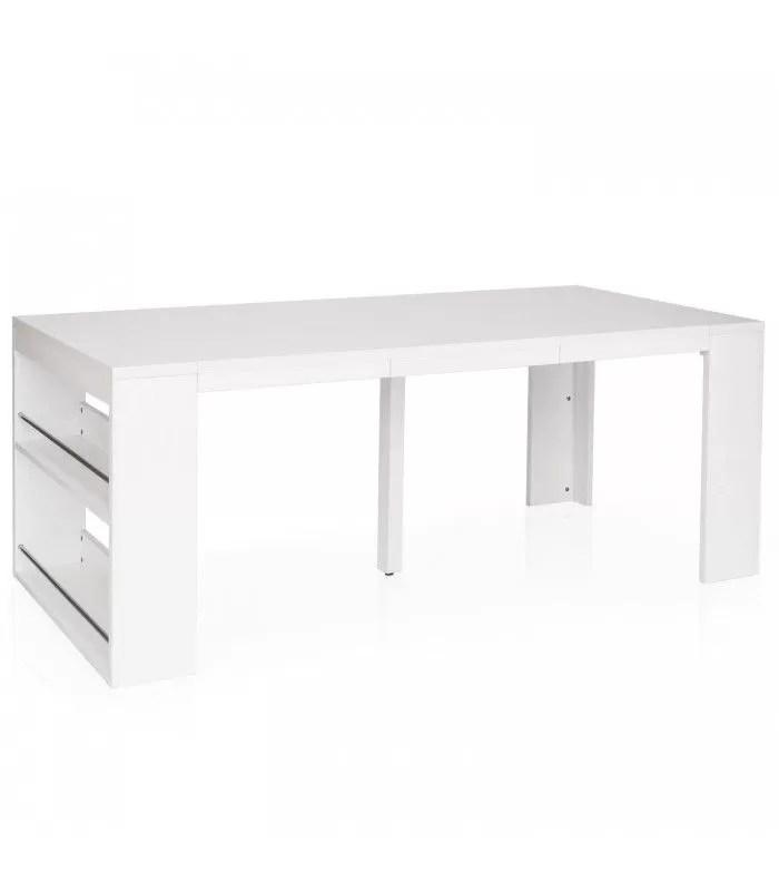 table console extensible avec rangement en bois welly
