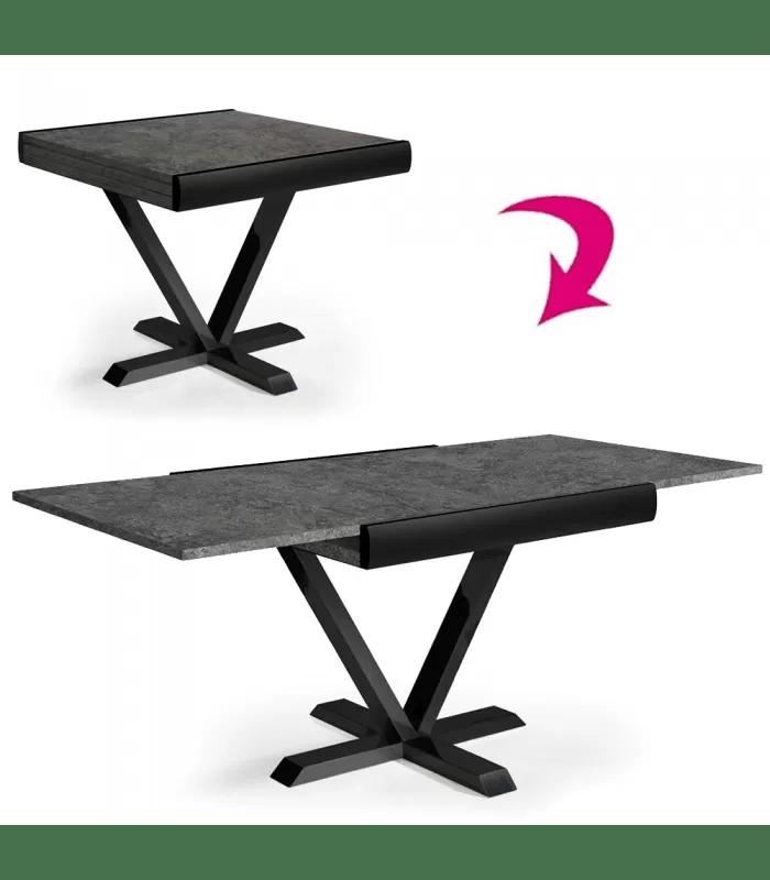 table carree extensible effet beton cire rallonge integree newage