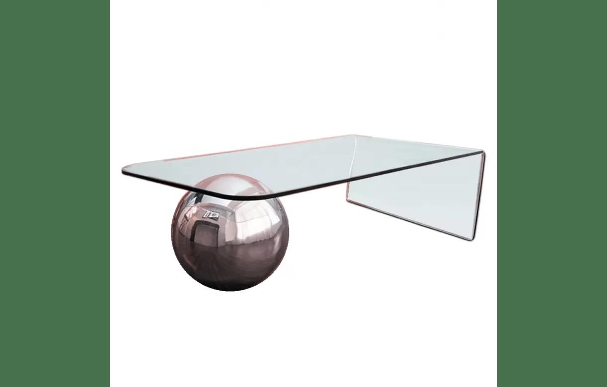 table basse en verre design avec boule
