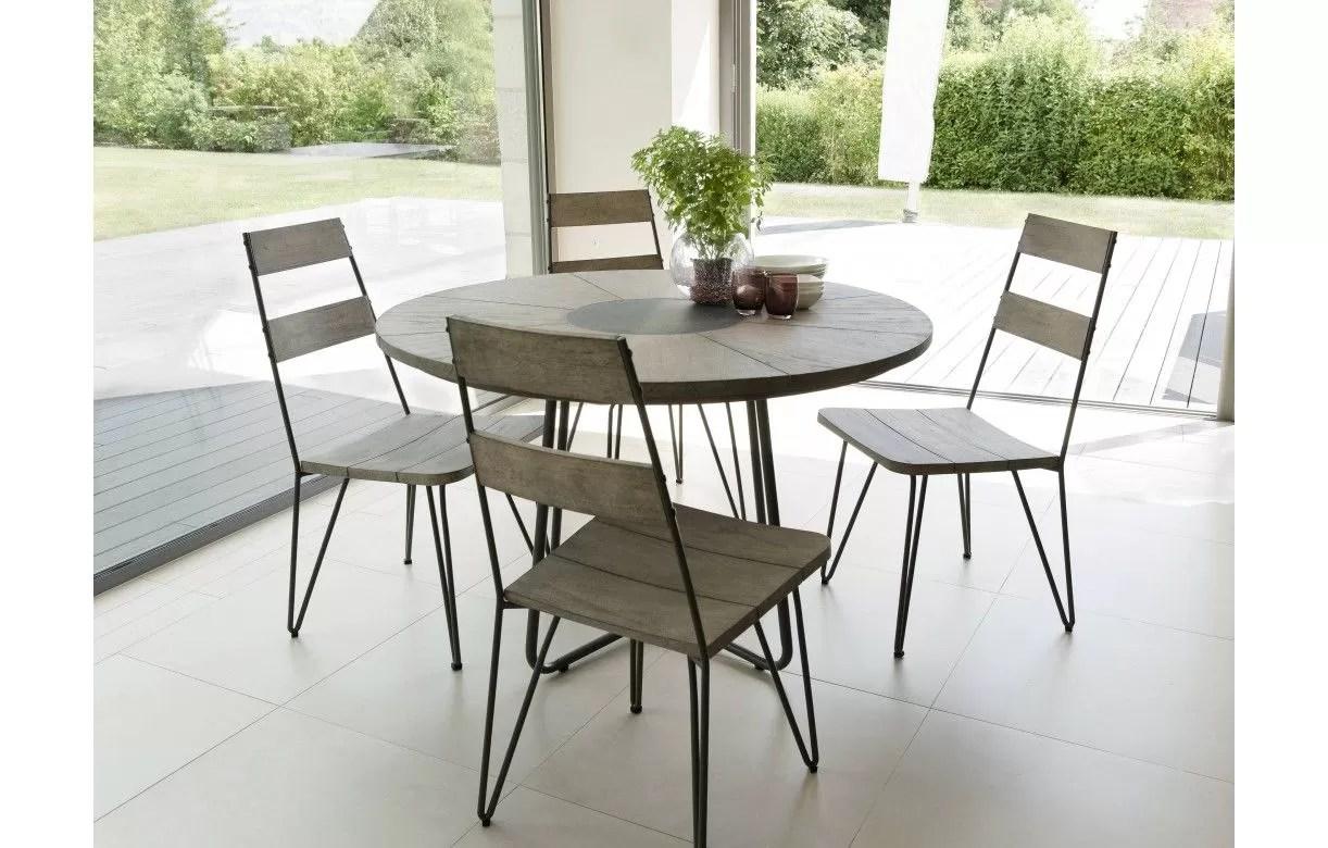 table ronde exterieur en bois massif