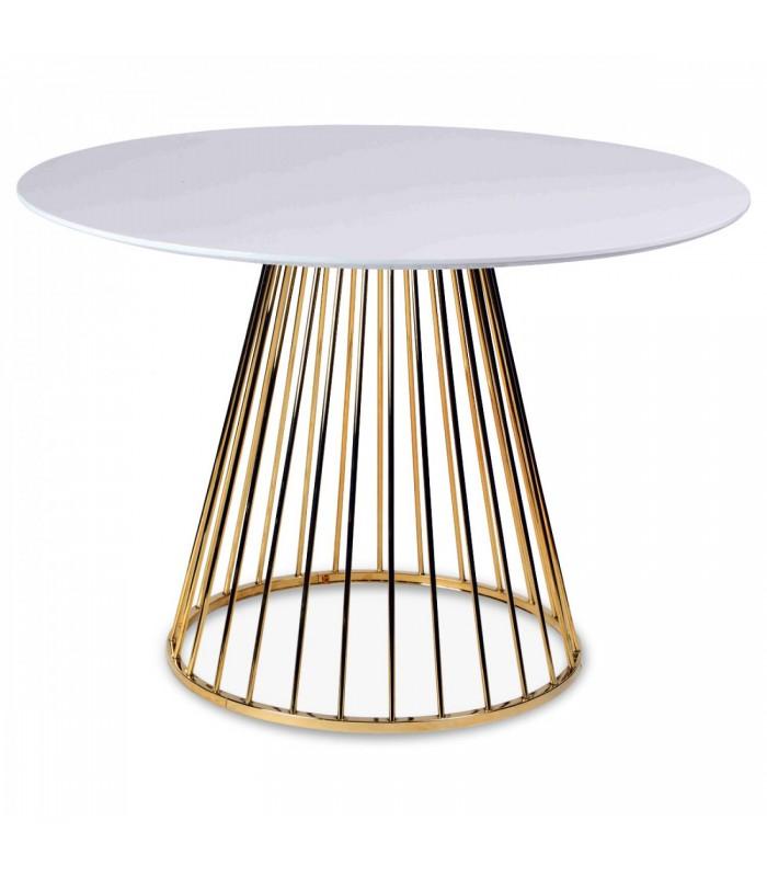 table a manger en bois blanc et pied dore en metal