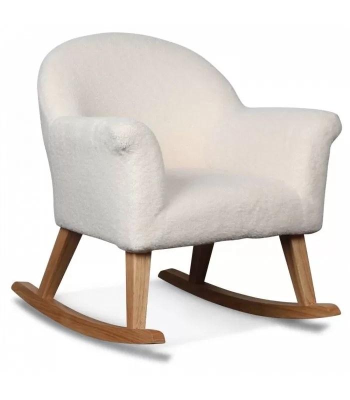 rocking chair enfant fauteuil en tissu blanc fourrure doudou