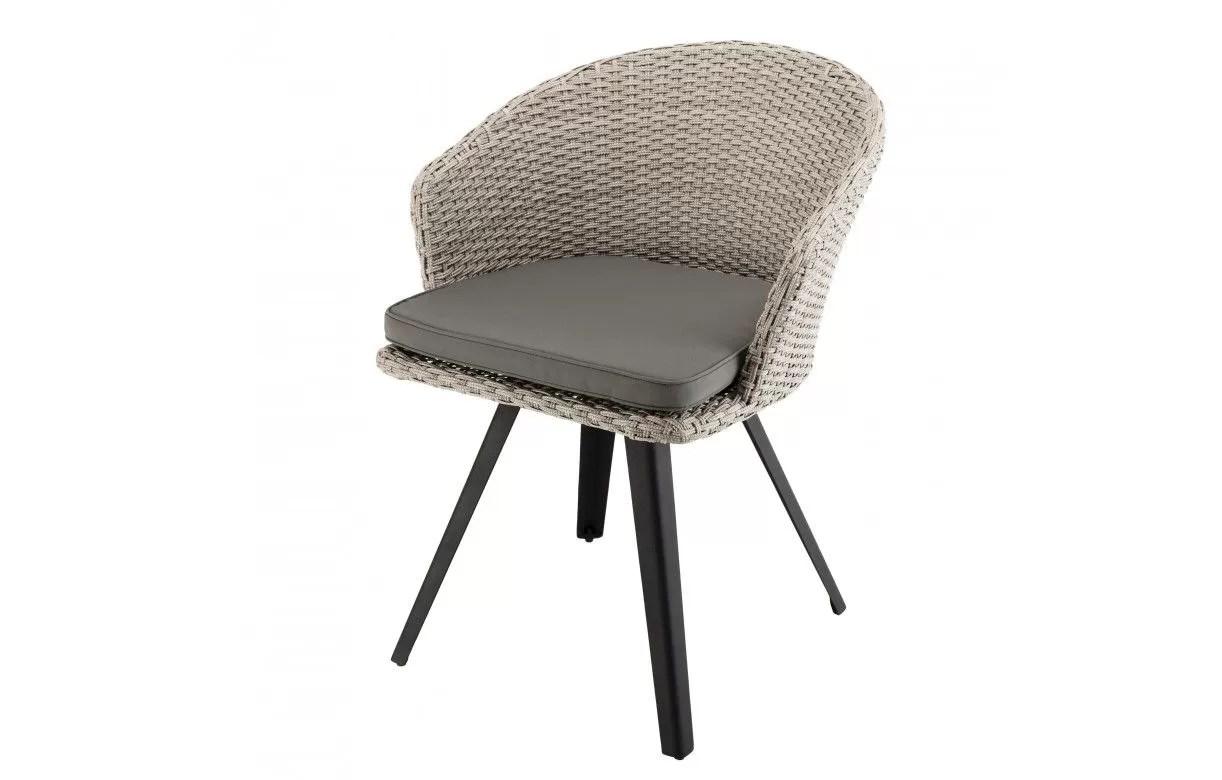 fauteuil style rotin avec coussin gris